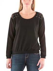 Lace Studded Shoulder Chiffon Sweatshirt
