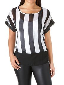 Striped Sheer Top with Faux Leather Sleeve Cuff