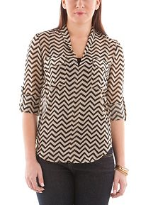 Roll Sleeve Printed Flap Pocket Sheer Tunic