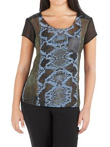 Short Sleeve Snake Print Top with Faux Leather Tri