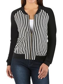 Long Sleeve Striped Bomber Top