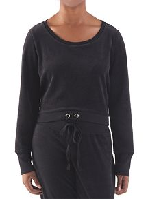 Long Sleeve Drawstring Waist Velour Pullover