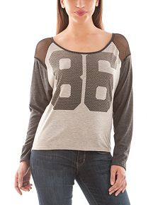 Long Sleeve Mesh Shoulder