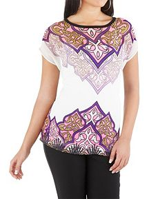 Cap Sleeve Printed Front Sheer Top