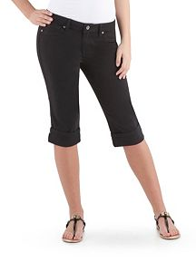 Super Stretch Rolled Cuff Black Capri