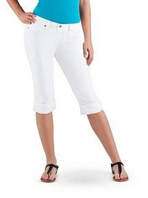 Super Stretch Rolled Cuff White Capri