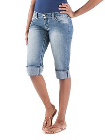 Denim Bermuda Shorts with Rhinestone Pockets