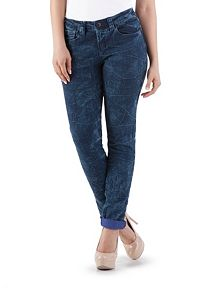 Cuffed Crinkle Wash Skinny Denim