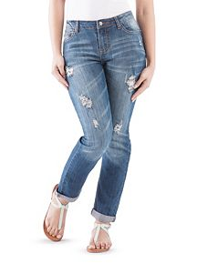 Curvy Fit Deconstructed Roll Cuff Skinny Jeans