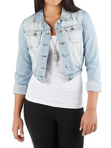 3/4 Sleeve Light Wash Crinkled Denim Jacket