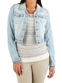 Long Sleeve Crinkled Denim Jacket