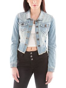 Medium Wash Hi Low Frayed Denim Jacket