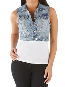 YMI Deconstructed Cropped Denim Vest
