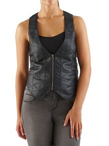 Faux Leather Vest with Triple Buckle Back