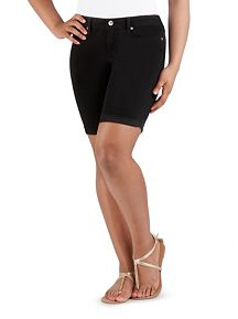 Super Stretch Rolled Cuff Black Bermuda Shorts