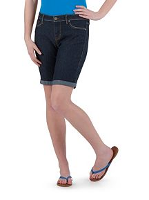 Super Stretch Rolled Cuff Denim Bermuda Shorts