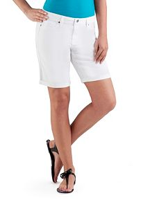 Super Stretch Rolled Cuff White Bermuda Shorts