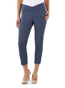 Crossover Waist Ankle Cropped Skinny Pants