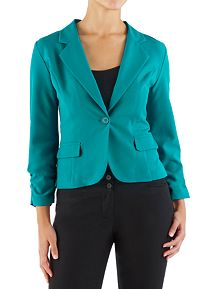 Long Sleeve Ruched 1 Button Blazer