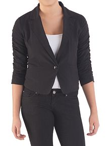 Rouched Sleeve 1 Button Blazer