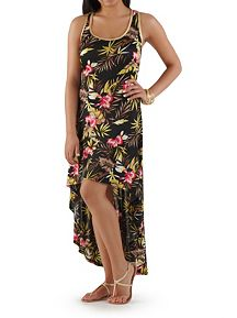 Floral Print Hi Low Gold Trim Maxi Dress
