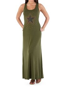 Racerback Maxi Dress with Camo Studded Star
