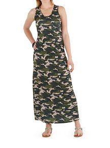 Camo Print Maxi Dress with Studded Pocket