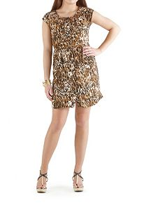 Animal Print Dress with Cage Neckline