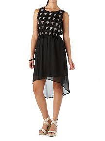 Sheer Cheetah Face Hi Low Dress