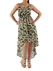 Camo Print Hi Low Maxi Dress