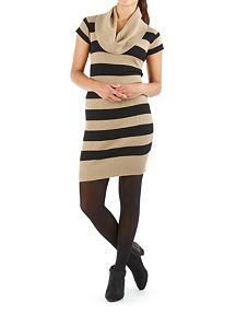 Cap Sleeve Ribbed Striped Cowl Neck Sweater Dress