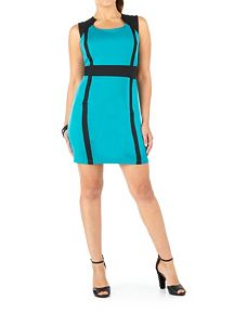 Cap Sleeve Colorblocked Sheath Dress