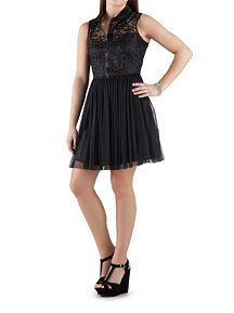 Sleeveless Button Front Lace Dress