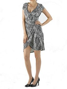 Short Sleeve Tribal Print Wrap Dress