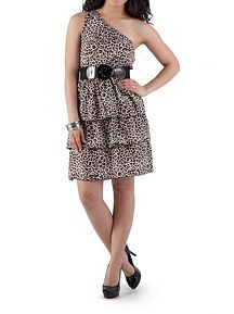One Shoulder Animal Print Tired Dress with Belt
