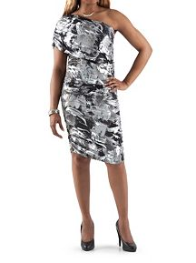 1 Shoulder Foil Printed Rouched Dresss