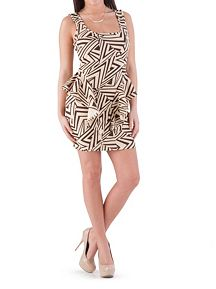 Zig Zag Print Peplum Dress
