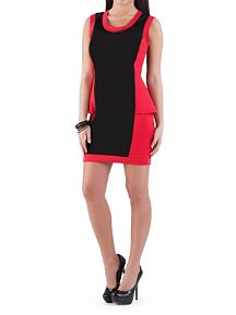 Color Blocked Peplum Dress