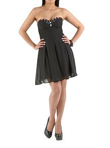Strapless Skater Dress with Jeweled Accents