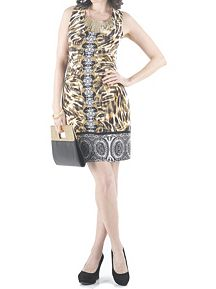 Animal Print Scoop Neck Sheath Dress