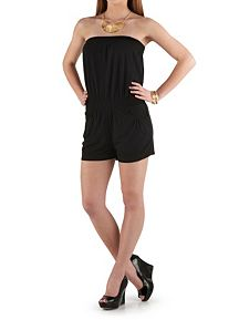Solid Tube Romper with Pockets