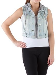 Frayed Denim Vest with Hoodie Insert
