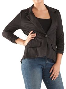 Sheer Back 1 Button Blazer with Rouched Sleeve