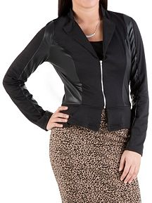 Ponte Peplum Zip Jacket with Faux Leather Detail