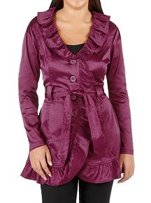 Satin Belted Ruffle Trench Coat