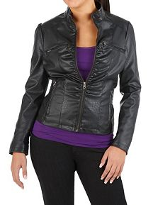 Faux Leather Zip Up Snake Textured Jacket