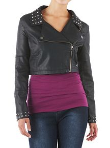 Faux Leather Crop Moto Jacket with Studded Collar