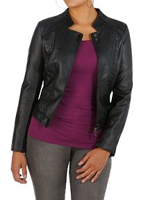 Faux Leather Crop Back Moto Jacket
