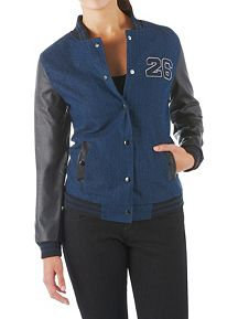 Denim Varsity Jacket with Faux Leather Sleeves