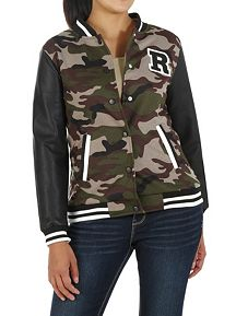Camo Print Varsity Jacket with Faux Leather Sleeve